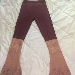 Upcycled boutique flare leggings small os bell